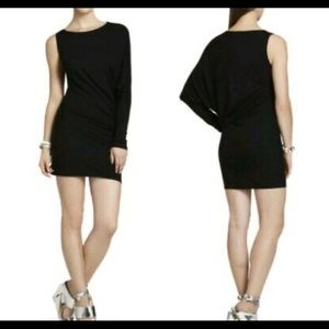 BCBG black one sleeve jersey dress